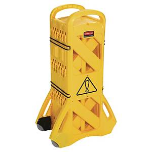 Barrière mobile portable Rubbermaid pour usage intérieur - polyéthylène - jaune