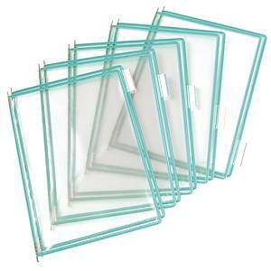 Tarifold saranatasku A4 läpinäkyvä/vihreä, 1 kpl=10 taskua