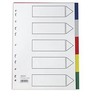 Välilehti 5-osainen A4 PP värilajitelma