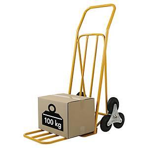 Diable spécial escalier Safetool en acier - capacité 100 kg - jaune