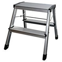 Aluklappleiter Safetool 3700, 2 Stufen + Sicherheitsbügel, Tragkraft bis 150 kg.