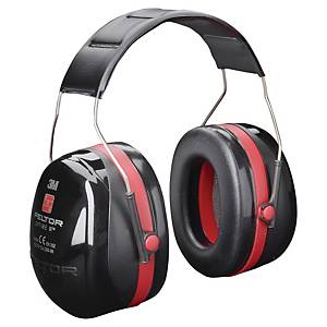 Casque antibruit 3M™ Peltor™ Optime™ III, SNR 35 dB, noires/rouges