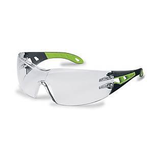 Sikkerhedsbriller Uvex Pheos, klare linser, sort/grøn