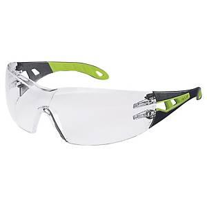 Skyddsglasögon Uvex Pheos, klara linser, svarta/gröna