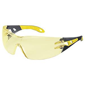 SAFETY SPECTACLES UVEX PHEOS 9192.385 BLK/YLLW AMBER