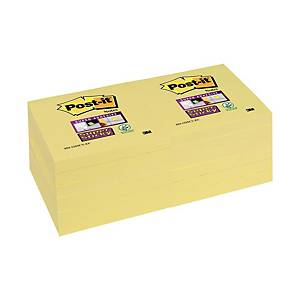 Notes repositionnables Post-it Super Sticky, 76 x 76 mm,90 feuil.,12 unités