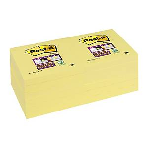 Post-It Super Sticky 76x76mm Canary Yellow - Pack Of 12