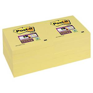 Notisblock Post-it Super Sticky Notes, 76 x 76 mm, gula, förp. med 12 block