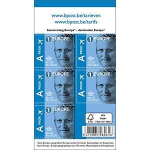 Timbres Europe 1 Belgique, autocollants, jusqu'à 50 g, la feuille de 50 timbres