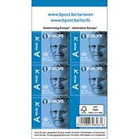 Zelfklevende postzegels België, Europa 1, tot 50 g, per 50 zegels op vel