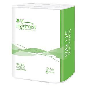 BJC HYGIENIST VALUE TOILET ROLLS 17.6 METRES - PACK OF 24