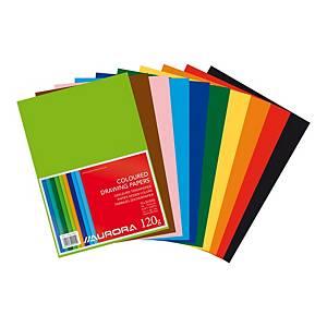 Papier à dessin A4 120 gr couleurs assorties - le paquet de 500