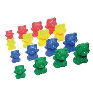 Educatieve sorteerbeertjes in 4 maten en 4 kleuren, pak van 96 stuks