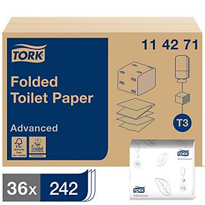 Tork T3 White 2 Ply Folded Toilet Paper - Pack of 36