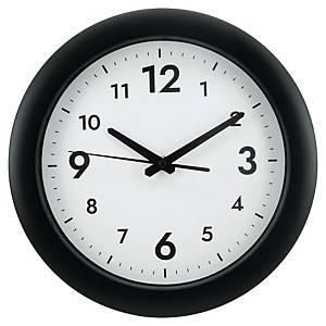 Nástenné hodiny  s tichým chodom, čierne, priemer 30 cm