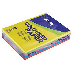 Farvet papir Lyreco, A4, 80g, assorteret, pakke a 5x100 ark