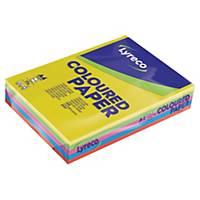 Farget papir Lyreco, A4, 80 g, assortert, pakke à 500 ark