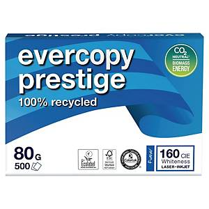 Evercopy Prestige Recycled Paper A4 80gsm White - Box of 5 Reams (5X500 Sheets)
