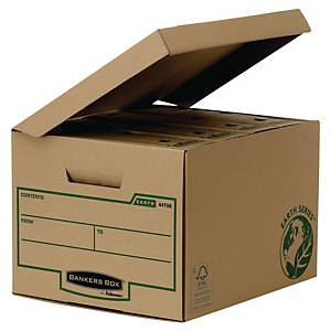 Opbevaringskasse Bankers Box Earth Series, med låg, lille, pakke a 10 stk.