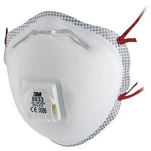 Masque coqué jetable 3M 8833 FFP3 - avec soupape - par 10