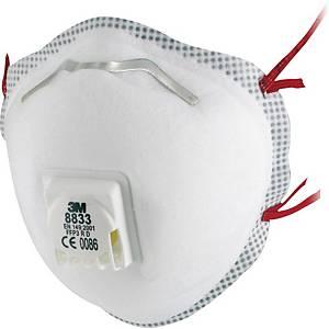 Masque à poussière 3M™ 8833 R D, FFP3, avec valve de respiration, les 10 pièces