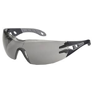 Skyddsglasögon Uvex Pheos, grå linser, ljusgrå/grå