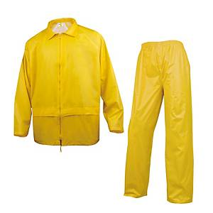 Completo giacca e pantaloni pioggia Deltaplus in pvc giallo tg XL