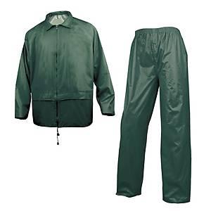 Completo giacca e pantaloni pioggia Deltaplus in pvc verde tg XL