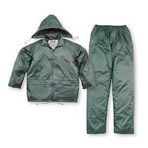 Completo giacca e pantaloni pioggia Deltaplus in pvc verde tg XXL