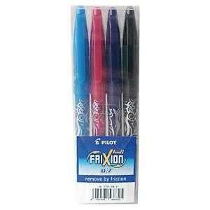 Rollerballpenna Pilot FriXion, 0,7 mm, utvalda färger, förp. med 4 st