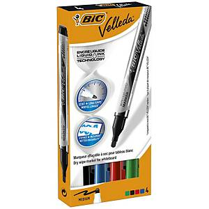 Bic Velleda Pocket Whiteboard Pens Large Bullet Nib -Assorted Colours, Pack 4