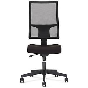Chaise de bureau Synchron Melik, polyester, noir