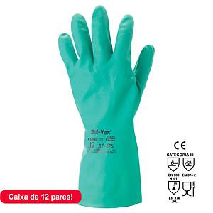 Ansell Sol-Vex 37-675 Nbr Chemical Gloves Green Size 7 - 1 Pair