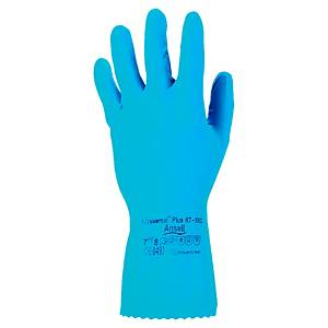 Ansell Universal Plus 87-665 chemical gloves blue - size 6/7 - 12 pairs