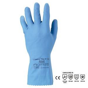 ANSELL PAIR UNIVERSAL NATURAL RUBBER CHEMICAL GLOVES BLUE SIZE 7.5/8