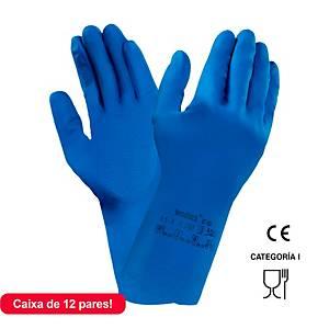 Caixa 12 pares de luvas químicos Ansell AlphaTech 87-195 - látex - tamanho 7,5/8