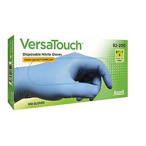 Ansell VersaTouch® 92-200 disposable nitrile gloves, size 8.5-9, 100 pieces