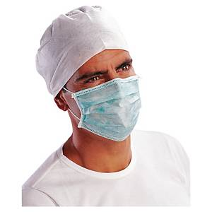 Hygienemaske Deltaplus, mit Bund und Nasenbügel, Papier,grün, Packung à 50 Stück