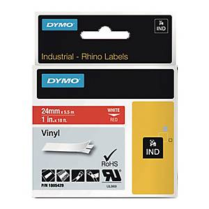 Taśma DYMO 19mm, kolor druku/tła: biały/czerwony