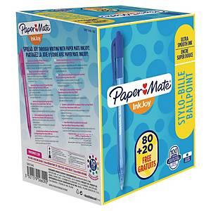 Kuličkové pero Paper Mate® Inkjoy 100R, klikací, 1 mm, modré, 80 + 20