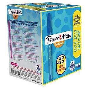 Paper Mate Inkjoy 100 stylo à bille avec capuchon bleu - 80 + 20 gratuits