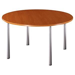 Table ronde Buronomic - pieds tubes - Ø 120 cm - merisier