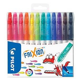 Pilot Frixion Colours Erasable Felt Tip Pens - Pack of 12 Assorted Colours
