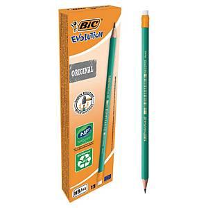 BIC Evolution Bleistift mit Radierer, schwarze Mine, 12 Stk/Packung