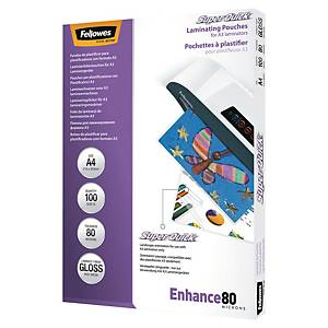 Pochettes de plastification Fellowes Super Quick, A4, 160 mic, brillantes, 100x