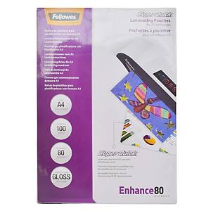 Fellowes SuperQuick Gloss A4 Laminating Pouch 80mi - Pack of 100