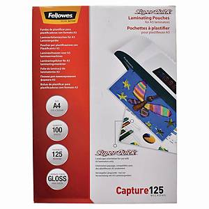 Fellowes SuperQuick Gloss A4 Laminating Pouch 125mi - Pack of 100