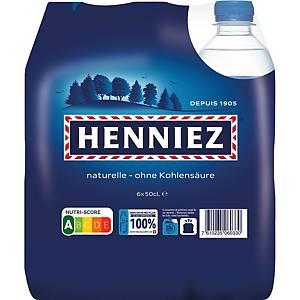 Eau minérale Henniez bleu, sans gaz carbonique, 6 bouteilles de 50 cl