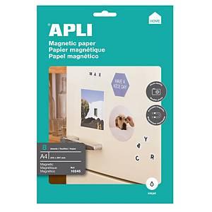 Pacote 8 folhas papel magnético Apli para impressora inkjet - A4 - 650 g/m²