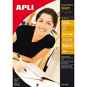 Pacote de 100 folhas de papel fotográfico inkjet Apli 12626 - A4 - 120 g/m²